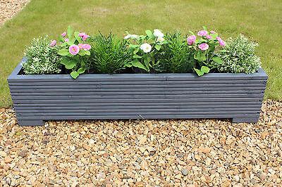 Grey 100x22x23 (cm) Wooden Garden Trough Planter or Plant Pots