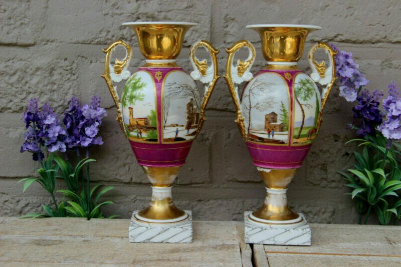 Antique pair french vieux paris porcelain landscape decor Vases