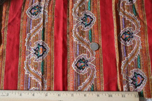 """Antique c1860 French Hand Blocked Wool Chalis Paisley Fabric~~L-9"""" X W-16.5"""""""