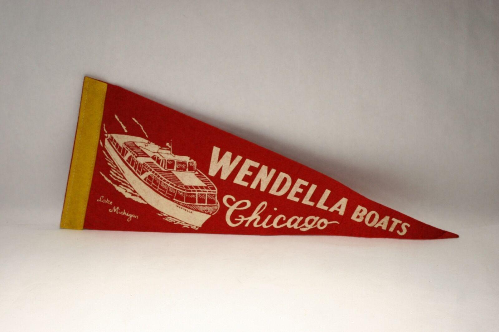 Rare Vintage Wendella Boats Chicago Lake Michigan Mini Pennant Flag Long14.3/8''