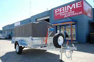 8x5ft Galvanised Trailer incl. Spare Tyre, Canvas Cover & Disk Brakes Wingfield Port Adelaide Area Preview