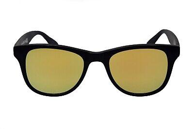 amoloma Sonnenbrille matt Gold verspiegelten Sonnenbrillengläser schwarz Rahmen