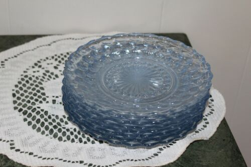 .DEPRESSION GLASS...ANCHOR HOCKING...BLUE SAPPHIRE...BUBBLE PLATES...LOT OF 4