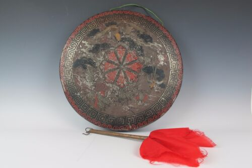 A Chinese Antique Gong with stick metal with birds pattern bronze old Foo Dog
