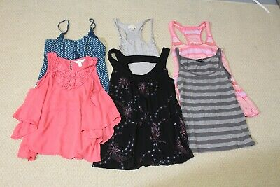 LOT: 6 Womens/juniors Med TANKS/CUT-OUT SHOULDER/SLEEVELESS TOPS- AEO/ABERCROMBI