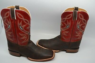 MENS JUSTIN BOOT BENT RAIL BB2600 CHOCOLATE RED LEATHER COWBOY SQUARE 12 D USA (Justin Mens Chocolate)