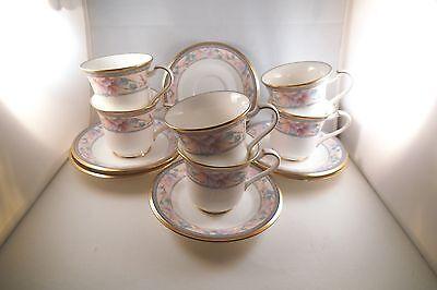 Vintage Noritake Japan Embassy Suite Pink Flowers Set Of 6 Cups   Saucers