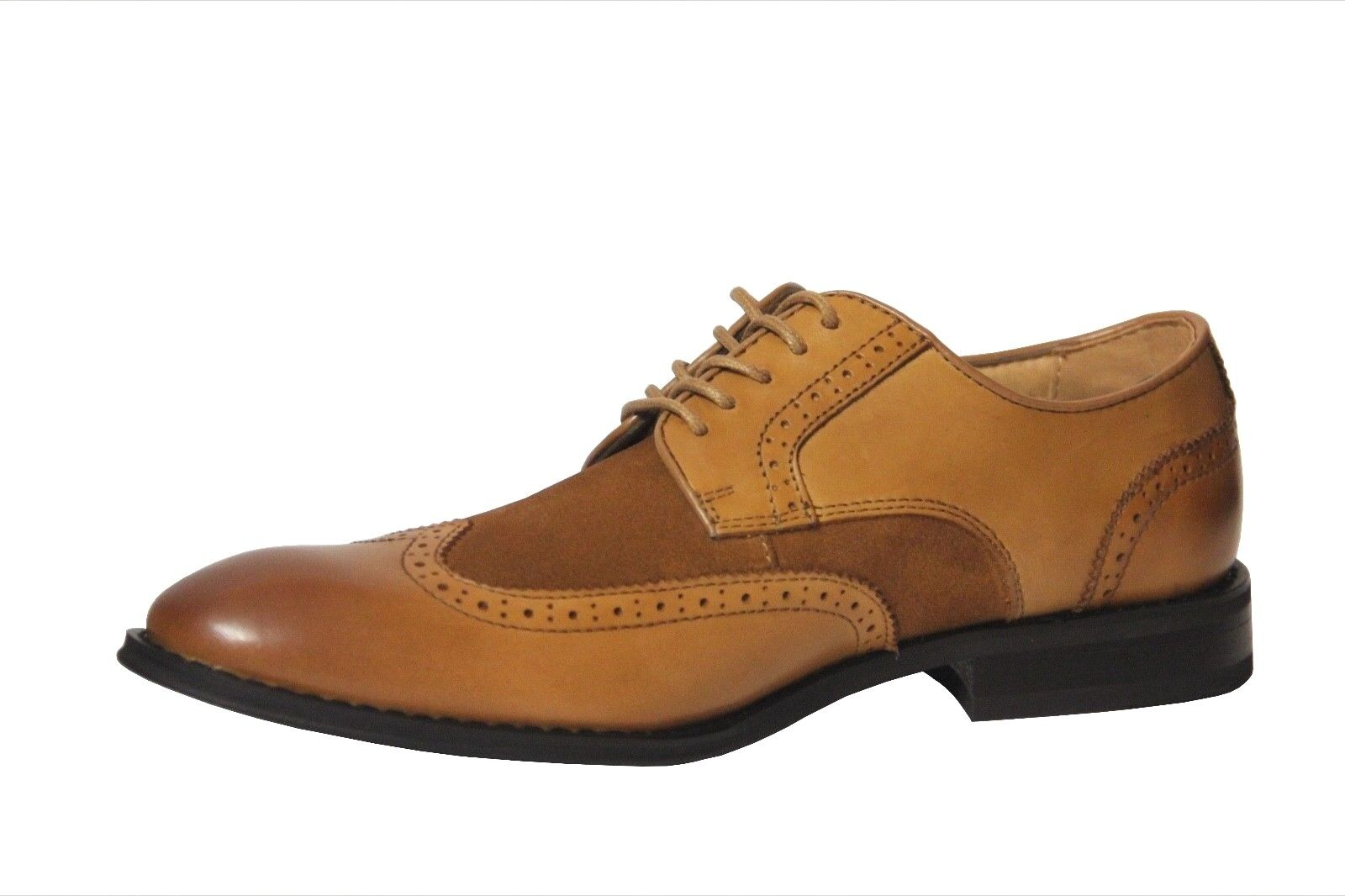La Milano Men's Tan Leather/Suede Wing Tip Dress Shoes A11408 1