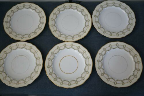 6 VINTAGE COPELAND CHINA PLATES GARLAND PATTERN TIFFANY & CO 9 1/2 INCHES