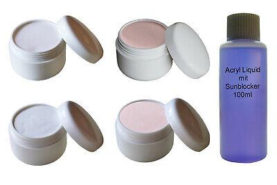 4x 10g Acryl Pulver / Puder Klar / Weiß / Rose / Cover + 100ml Liquid Acryl Set
