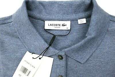 LACOSTE Womens Five-Button Slim-Fit Stretch Polo Shirt Blue Size 42 Slim Fit Top