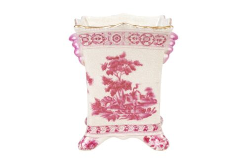Pink and White Square Floral Porcelain Vase 7""
