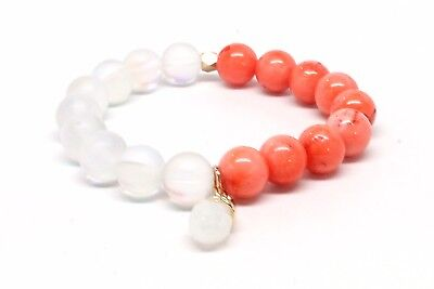 Druzy Beaded Agated Bracelet With Crystal Dangle Stone and Corl & Clear Beads