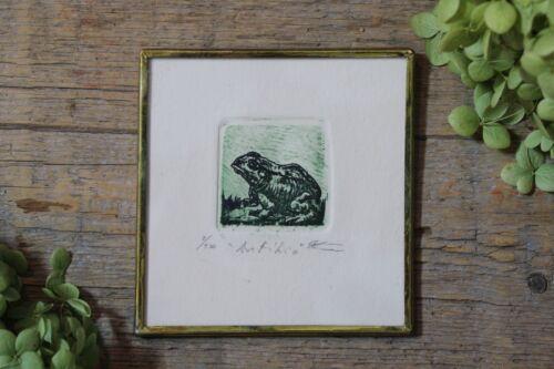 Green Frog Etching Amphibian Handmade Brass Framed by Abelar Mexican Folk Art