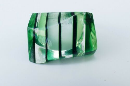 VINTAGE 60'S LUCITE RING SZ 6 BEVELED ASYMMETRICAL GREEN  STRIPED RETRO COOL