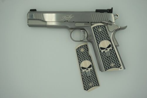 1911 Custom Grips Punisher Faux Ivory Kimber Colt S&W Remington Taurus Ruger