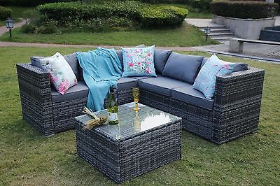 NEW RATTAN GARDEN FURNITURE SET SOFA TABLE - PATIO CONSERVATORY GREY SET