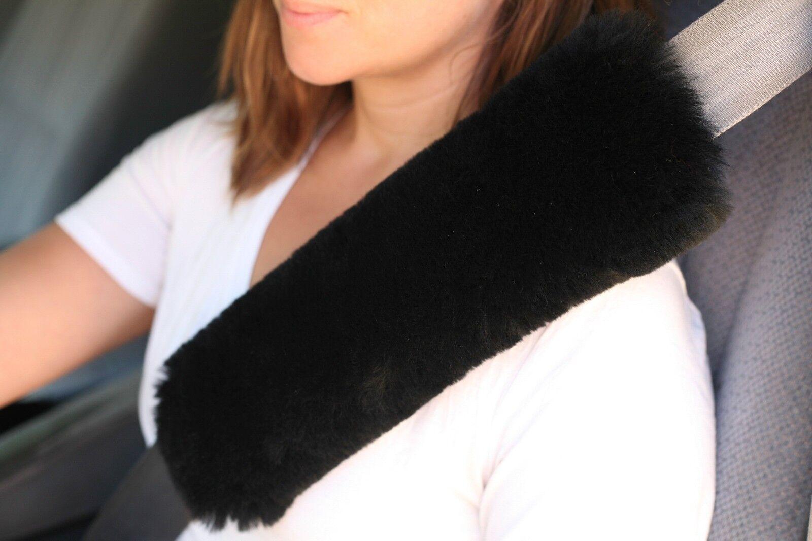 "Single BLACK 12"" L Merino Sheepskin Seat Belt Shoulder Strap Pad Cover USA Made"
