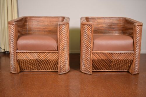Vintage Split Reed Bamboo Chairs in the style of Gabriella Crespi