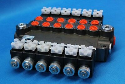 HYDRAULIC BANK MOTOR 6 SPOOL VALVES 80 L/MIN ELECTRIC 12V + INSTRUCTION