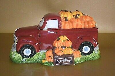 2018 Blue Sky Ceramics Red Pickup Truck Pumpkins Halloween Autumn Cookie Jar EUC