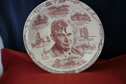 """Vintage Will Rogers 10-1/4"""" Collector Memory Plate 1879-1935"""