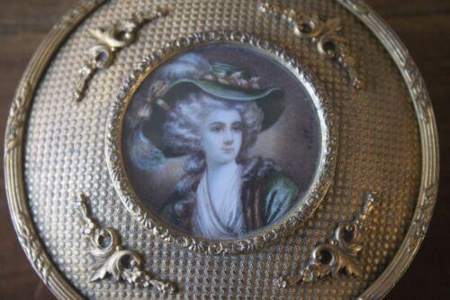 Antique Brass Round Lady Dresser Box Hand painted Signed Jewelry Vanity Filigree