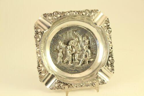 Antique Silver Plate HH 90 Herman Hooijkaas Schoonhoven Holland Embossed Ashtray