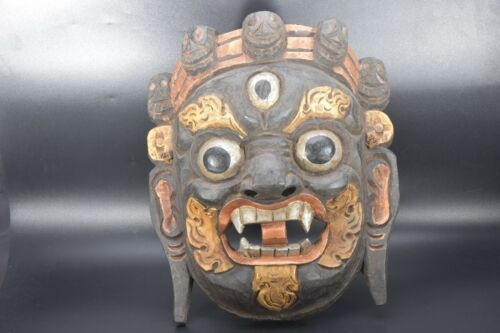 Bhairab Antique 3Eye Mahakala Shaman wooden Mask Rudraksha dorje handmade, Nepal