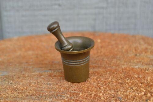 Vintage Antique Miniature Solid Brass Mortar & Pestle