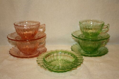 Sierra green (2) Cups & Saucers, Butter Bottom, and (2) pink Cups and Saucers