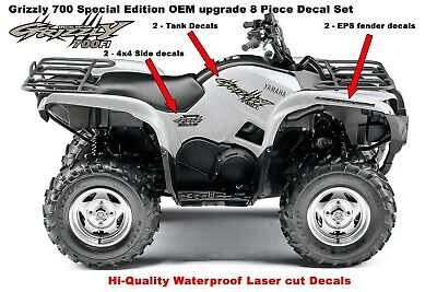 Used, Yamaha Grizzly 700 4x4 Special Edition OEM ATV Tank Upgrade Decal Sticker kit  for sale  Shipping to Canada