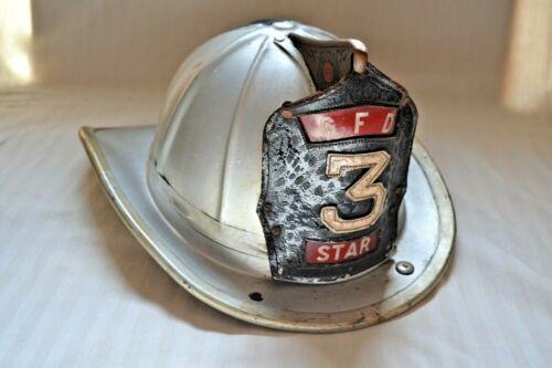 Vintage Cairns Bro Greenport Star Hose Fire Helmet Sanitary Liner Leather Badge