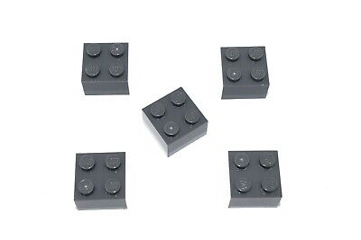 (5) NEW LEGO 2x2 DARK STONE GREY BRICKS bulk lot blocks 3003 dark bluish gray