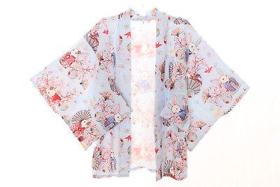 KJ-03-3 hell-blau Glücks-Hase Rabbit Bunny Haori Über-Jacke Kimono Yukata Japan