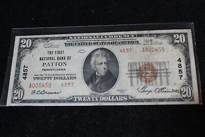 1929  20 First National Bank  Of Patton Pennsylvania National Currency    197424