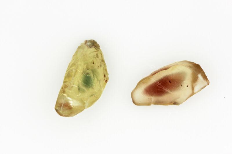 AA-AAA Red & Teal PAIR - OREGON SUNSTONE - Facet Grade Rough Gemstone - 22.50ct.
