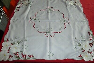Antique pre 1925 Embroidery Posey Bouquet Doily Table Topper Handmade Pink and Multi color with needle lace trim