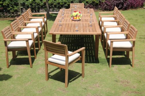 "13 PC TEAK OUTDOOR DINING SET 122"" DOUBLE EXTN RECT TABLE + 12 MONTA STACKING CH"