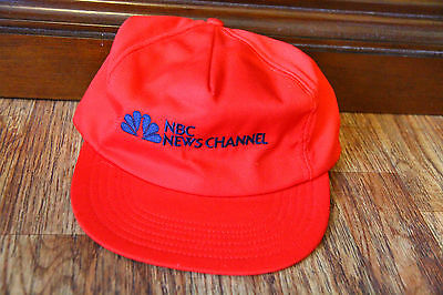 Nbc News Channel Hat Cap Adjustable Snapback Red Made In Usa Barry Wayne Vintage