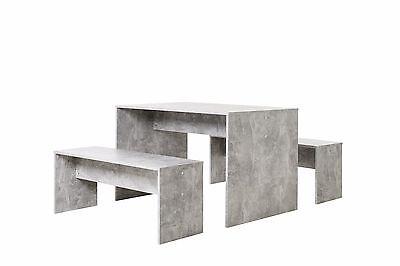 Essecke (Tischgruppe Berlin, beton,  Essgruppe, Essecke, Tisch + Bank, Esstisch, 2 Bänke)