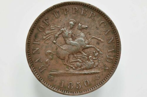 1850 Bank of Upper Canada Copper Penny Bank Token KM# Tn3