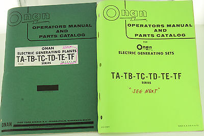 Vintage Onan Ta Tb Tc Td Te Tf Generator Genset Operators Manual Parts Catalog