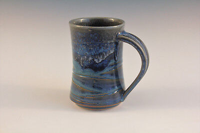 Pottery Hand Made Wheel Thrown. Coffee Mug Mottled Blue & White Glaze - Rollins
