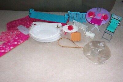 Mattel Barbie Lot Furniture Long Day Bed/Sofa, Table, Bathtub, Kitchen Accs