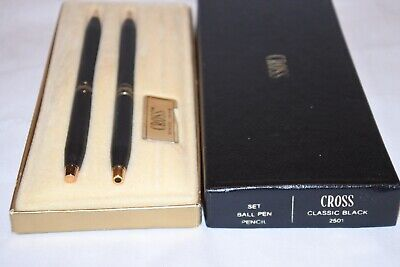 Vintage Classic Black Cross Ball Pen And Pencil Set 2501 in Box
