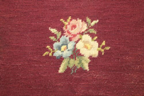 Rose and Flowers Floral Needlepoint Completed Finished Red Maroon Background