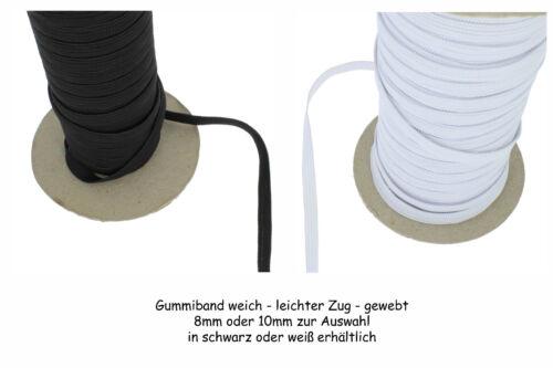 5 Meter Gummiband Gummi weich leichter Zug Gummilitze gewebt  3mm 5mm 10mm Breit