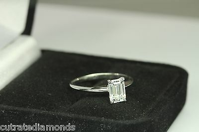 - 1.00 CT DIAMOND  EMERALD CUT SOLITAIRE ENGAGEMENT RING 14 KARAT WHITE GOLD
