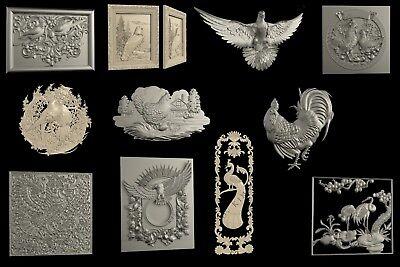 STL 3D Models # BIRDS № 3# LOT 10+1 PCS  for CNC Aspire Artcam 3D Printer 3D MAX